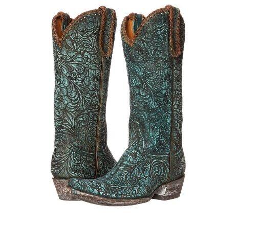 Old Gringo Gringo Gringo LS Cassidy VINTAGE Turquoise Cowboy Western Leather Stiefel 7 damen 565289