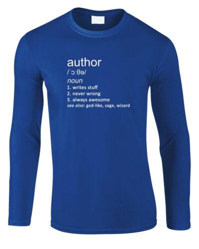 Author Men/'s Long Sleeve T-Shirt Definition Cool Gift Writer Book Writing Job