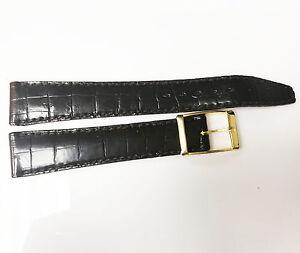 Vintage-Bulova-Accutron-17mm-Alligator-Stitch-Brown-Leather-Band-Gold-Buckle-NOS