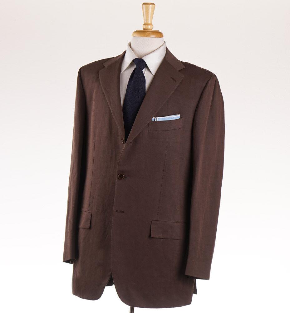 NWT 7295 KITON Chocolate Braun Twill Linen-Cotton Suit 38 R (Eu 48) Classic-Fit