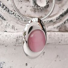 NUOVO 42cm+5, 5cm collana con Cat Eye Pietre Rosa serpenti CATENA ARGENTO Collier