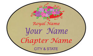 #3 PERSONALIZED MAGNETIC NAME BADGE GOLD FOR THE RED HAT LADY OF SOCIETY