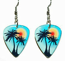 TROPICAL SUNSET GUITAR PICK DANGLE EARRINGS (GP037)