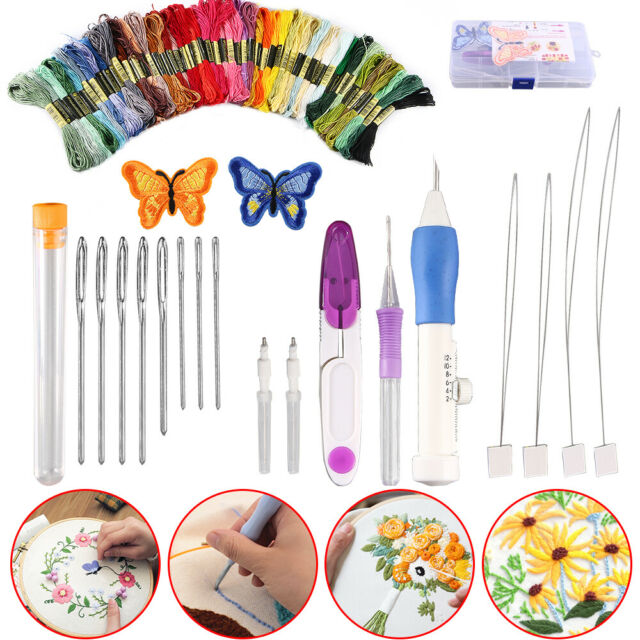 US Magic DIY Embroidery Pen Sewing Tool Kit Punch Needle Sets 50Threads