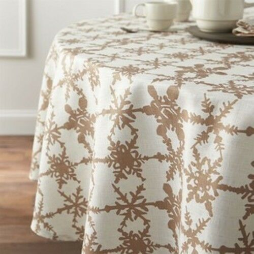 Crate and & Barrel SNOWFALL or Lin Nappe - 90  rond-Neuf sans étiquettes