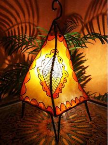 Marokkanische Orientalische Hennalampe Lederlampe Zipfellampe Hennaleuchte Lampe