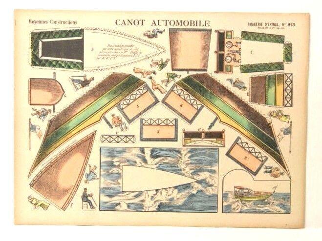 Imagerie d'epinal no 913 no automóvil, construcciones moyennes modelo de papel de juguete