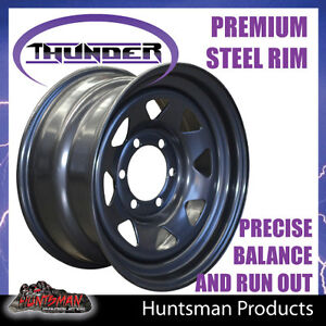 16X7-6-Stud-Black-Thunder-Steel-Wheel-Rim-30-Offset-6-139-7-PCD-Ranger-Hilux