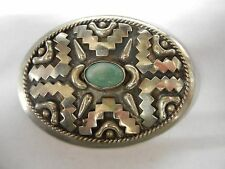 Vintage Alpaca Mexico Belt Buckle with Green Stone