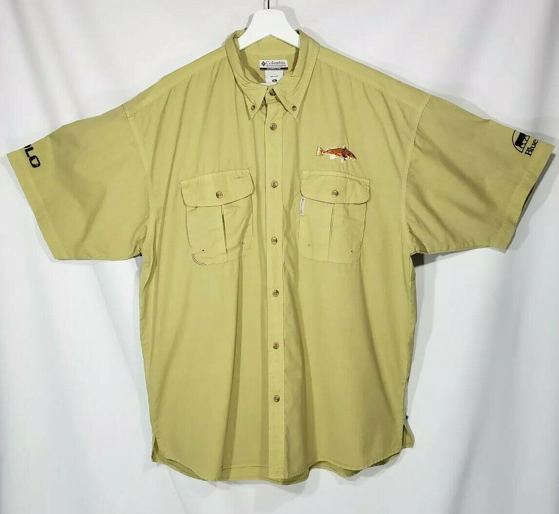 NWT Columbia  PFG Vented Fishing Shirt Harkers Island Mens XL Greenfin Redfish  best quality best price