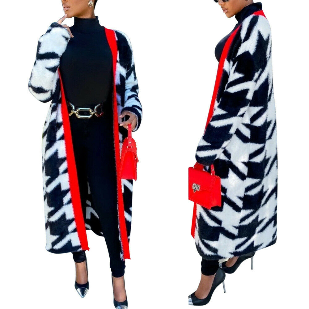 Fashion Women's Printed Long Sleeves Patchwork Casual Cardigan Outerwear Coat
