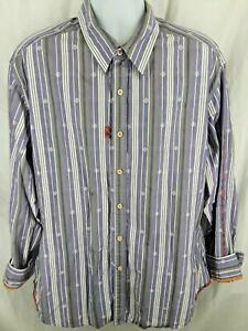 ROBERT-GRAHAM-Purple-White-Stripes-Plaid-Accents-Button-Front-SHIRT-Size-XL