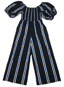 COUNTRY-ROAD-Women-039-s-Jumpsuit-Puffy-Sleeves-Blue-White-Stripes-Size-10