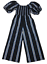 COUNTRY-ROAD-Women-039-s-Jumpsuit-Puffy-Sleeves-Blue-White-Stripes-Size-10 thumbnail 1