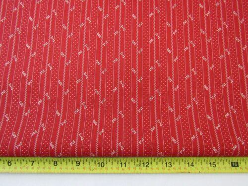 P/&B Cotton Quilt Fabric Squier Lane Diane Grick Deep Coral Stripe Civil War BTHY