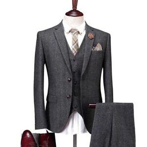 Dark-Gray-Men-039-s-Vintage-Suit-3-Pcs-Tweed-Fleck-Classic-Slim-Fit-Wool-Blend-Suits