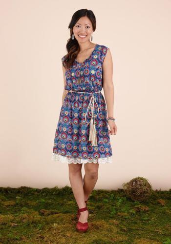 MATILDA JANE SPLENDID Once Upon A Time Dress Blau Floral Woherren Large New NWT