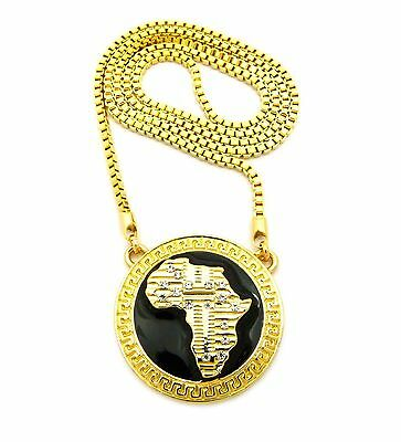 "MENS HIP HOP GOLD AFRICA MAP CONTINENT AFRICAN PENDANT 30"" BOX CHAIN NECKLACE"