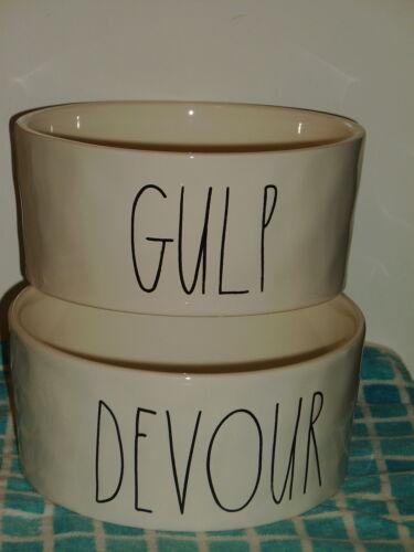 2 Rae Dunn Magenta Dog Bowls ~ DEVOUR & GULP ~ New!