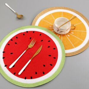 "6 Piece 15"" Watermelon Lemon Collection Kitchen Dining Placemats Set Table Mats"
