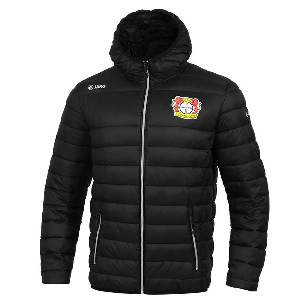 Jako fútbol Bayer 04 Leverkusen hombre acolchada chaqueta con capucha con cremallera superior