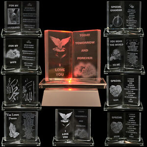 NEW-ENGRAVED-GLASS-CRYSTAL-BOOK-GIFT-SET-POEM-POETIC-WRITING-SENTIMENT-ORNAMENT