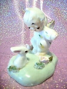 "*SUPER RARE VTG* Napco Itsy Bitsy Angel Girl w/ Bunny ""BUNNY GREETINS"" Figurine"