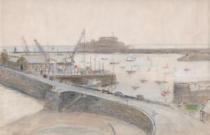 CASTLE CORNET GUERNSEY HARBOUR Pastel Drawing c1950