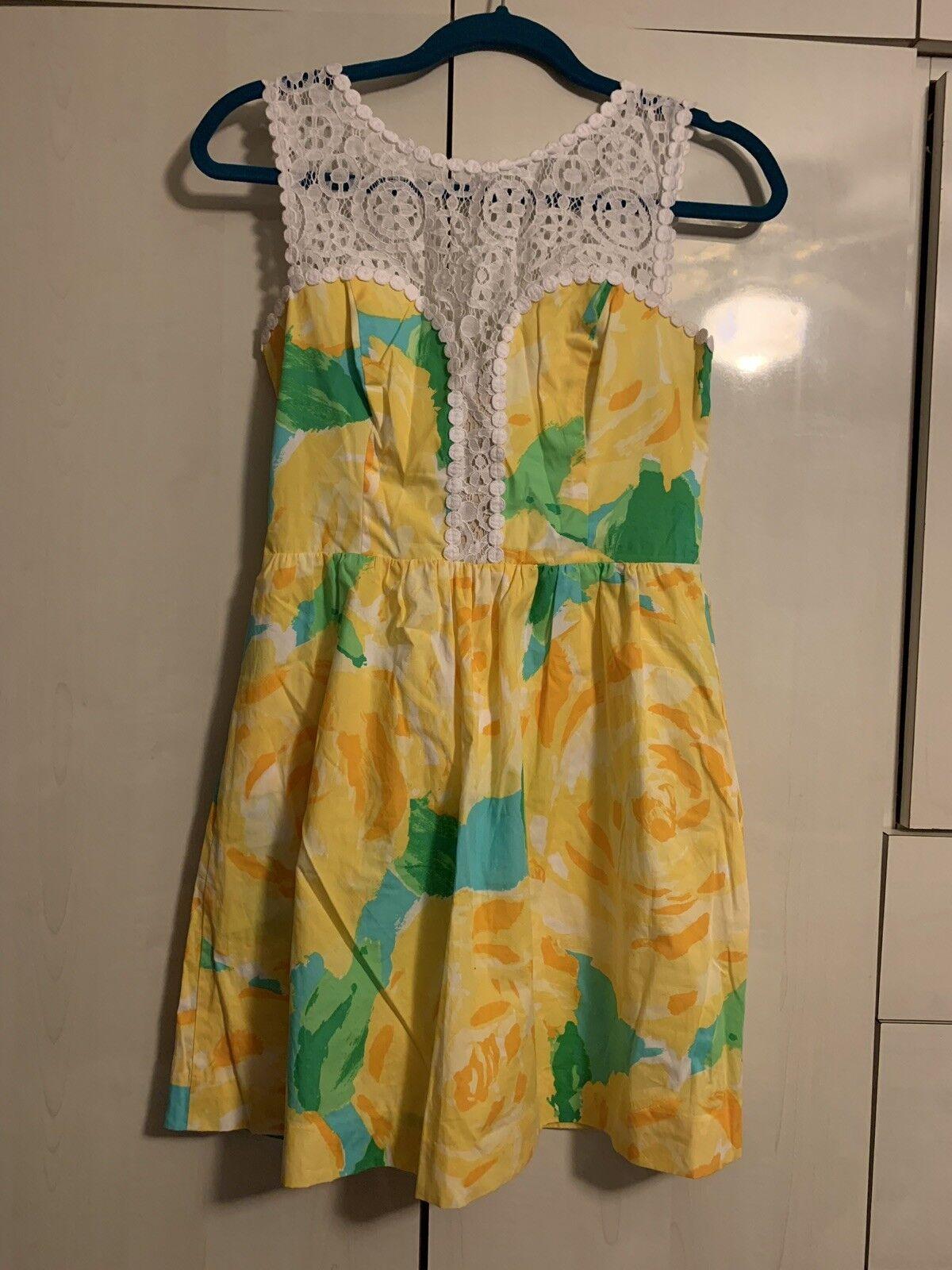 Lilly Pulitzer 2 Raegan Fit & Flare Dress, Sunglow Gelb First Impression, NWOT