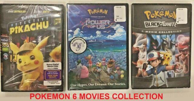 DVD Lot- Pokemon: The POWER of US + Detective Pikachu + Black & White (4 movies)