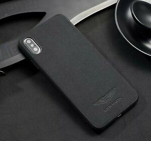new style b9e46 cd078 Details about iPhone XR Aston Martin Cover Suede Alcantara Phone Case UK