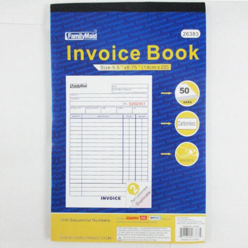 1 Carbonless Invoice Receipt Record Book 2 Part 50 Sets Duplicate Receipt New !!