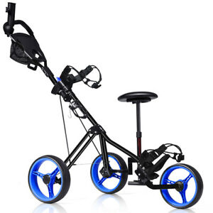 Foldable 3 Wheel Push Pull Golf Club Cart Trolley w/Seat Scoreboard Bag Blue