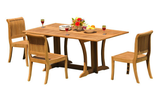 """4-Piece Outdoor Teak Patio Dining Set: 69"""" Console Table, 3 Armless Chairs Giva"""
