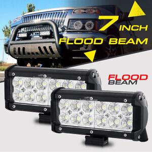 2x-7INCH-36W-FLOOD-CREE-LED-WORK-LIGHT-BAR-OFFROAD-ATV-FOG-TRUCK-4WD-12V-VS-SPOT