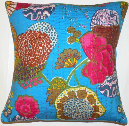 "Cushion Cover 16x16/"" 40cm Indian Cotton Kantha Flower Leaves Floral Tropical"