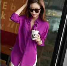 Fashion Women Blouse Long Sleeve Chiffon Shirt Turn-down Collar Casual Loose