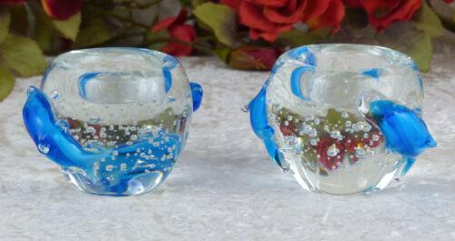 Kerzenleuchter Delphin Teelichthalter Set Windlicht Glas Murano Teelichtschale