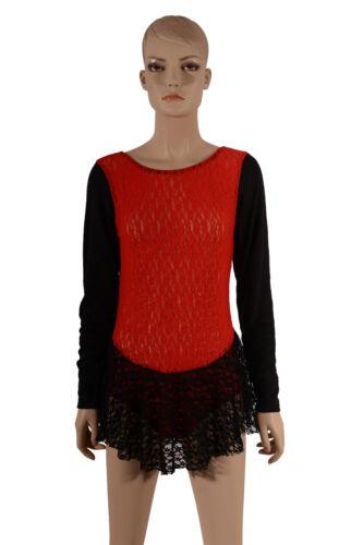 Cheer Dance Costume Leo Skating Tap Women/'s//Ladies Sheer Red//Black Lace Leotard