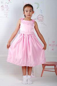 nuovo prodotto 5c608 fe5f5 Dettagli su NUOVO satinato per bambina da festa DAMIGELLA matrimonio  vestito spettacolo 18