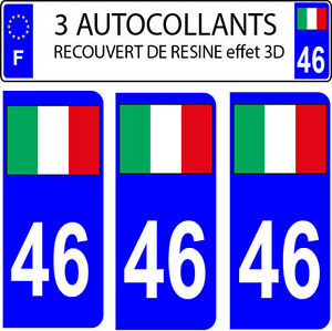 3 stickers plaque immatriculation auto DOMING 3D RESINE DRAPEAU ITALIE N° 89