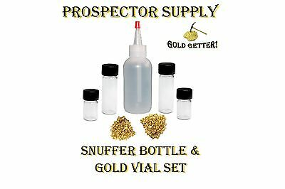 4oz SNUFFER BOTTLE & GOLD VIAL SET - Concentrate Pay Dirt for Fine Flour Gold
