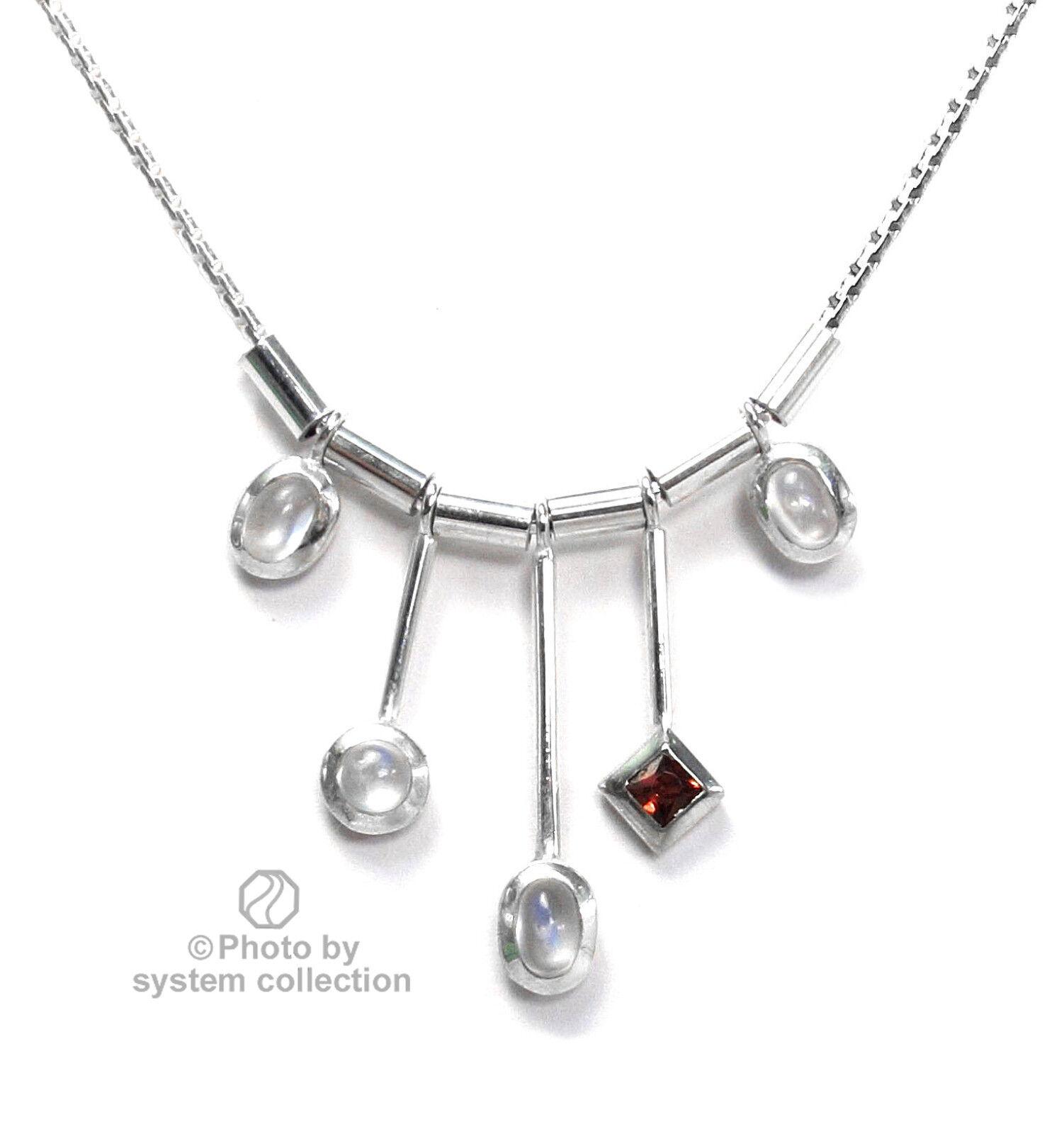925er silvercollier mit Mondsteinen und Granat