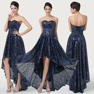 Sparkle Bling Sequins Womens Party Evening Bridesmaid Wedding Gown Prom Dresses