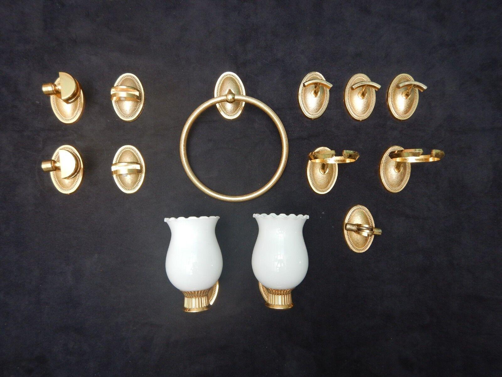 ensemble accessoire salle de bain laiton opaline opaline opaline appliques vintage   Fiable Réputation  168484