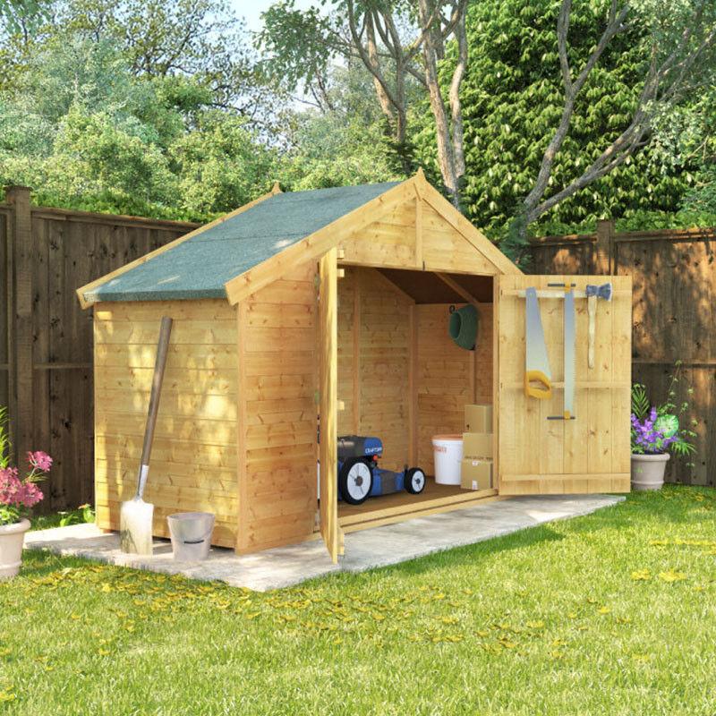 3x8 overlap wooden apex bike log double door roof felt shed 3ft x