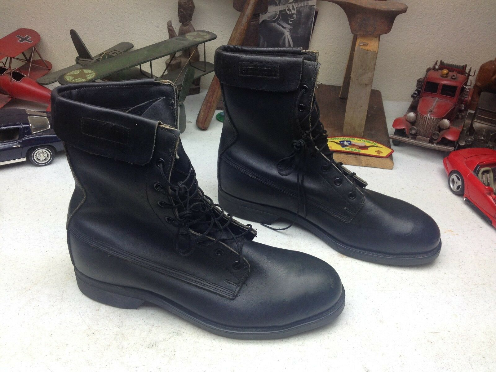 VTG 1985 STEEL TOE MILITARY USA schwarz LACE LACE LACE UP PARATROOPER JUMP BOSS Stiefel 9.5 D 45f8d1