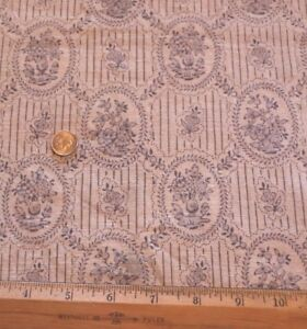 French-Antique-1900s-Blue-Linen-Small-Scale-Chinoiserie-Toile-Fabric-W-Border