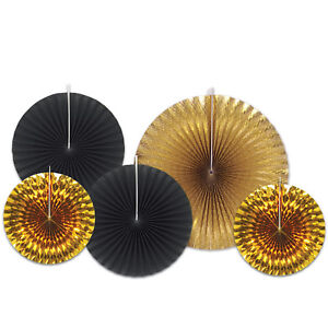 SET-5-ASSORTED-BLACK-amp-GOLD-PAPER-FOIL-CONCERTINA-FANS-PARTY-DECORATION