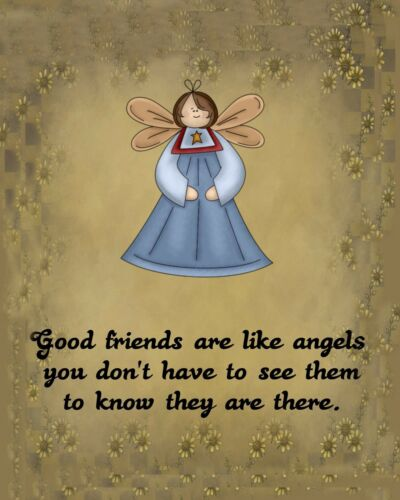 METAL MAGNET Image Of Good Friends Are Angels Don/'t Have To See Them MAGNET